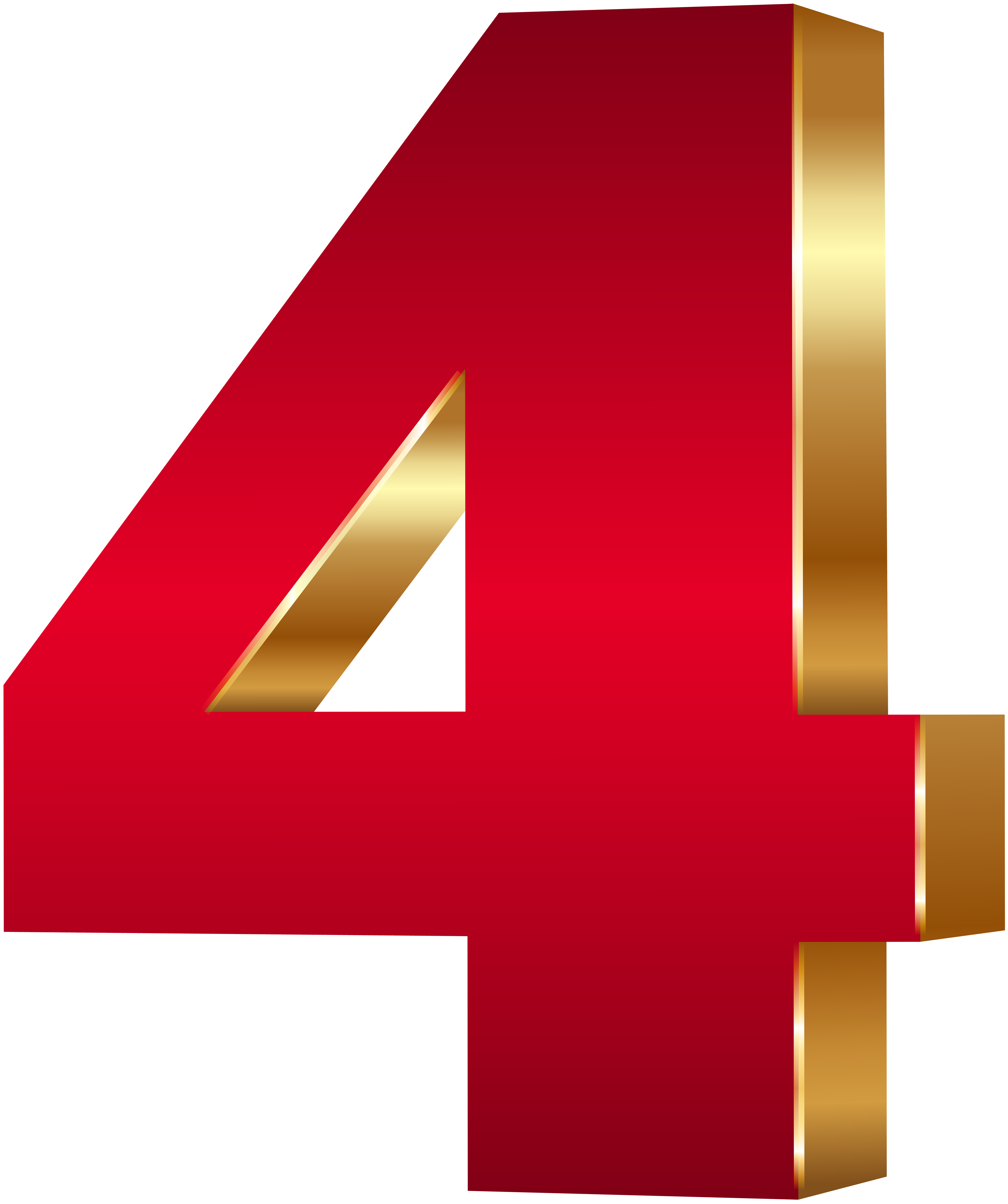 Four clipart.  d number red