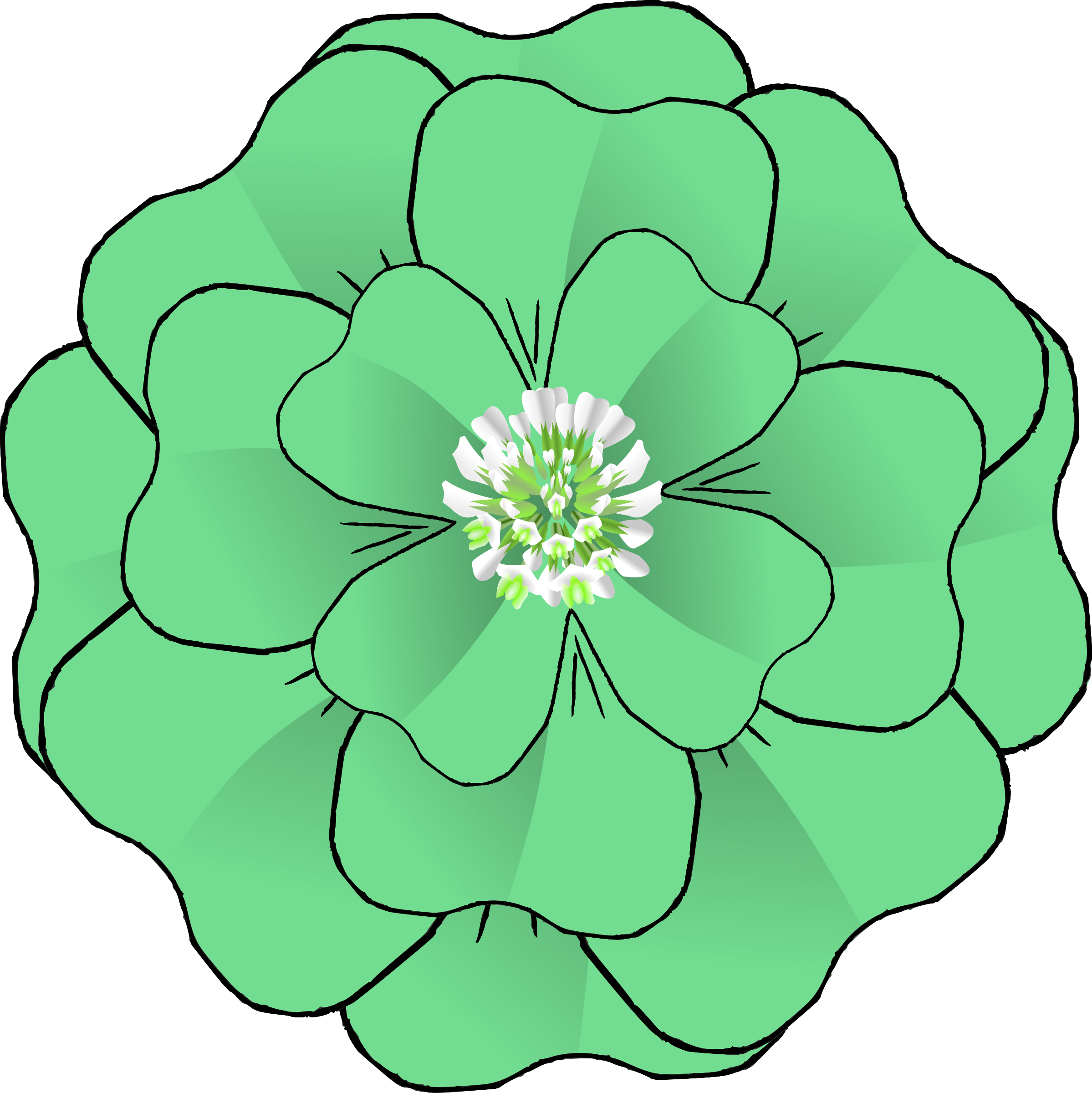 Four petal flower clipart svg black and white stock Clipart - Flower 4 Leaf Clover Corsage-resubmission svg black and white stock