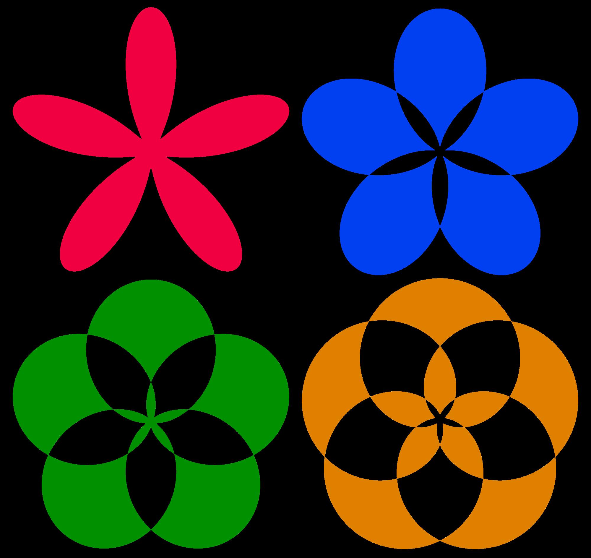 Four petal flower clipart jpg transparent download File:Mathematical-polar-equation-flowers.svg - Wikimedia Commons jpg transparent download
