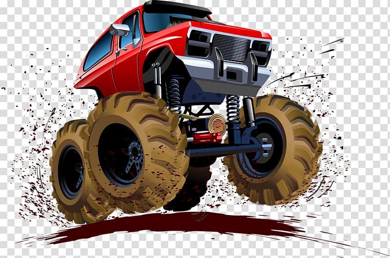 Red monster truck art. Four wheel drive clipart