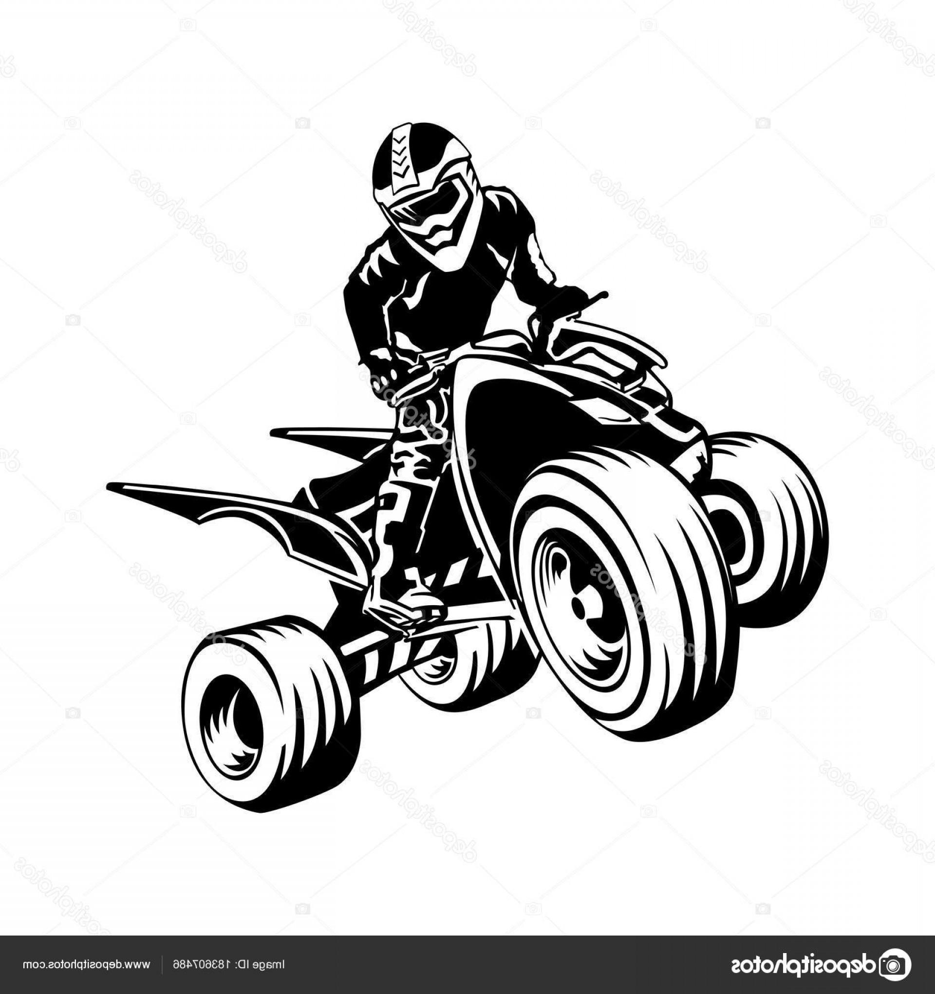 Four wheeler with flames clipart. Car logo quad design