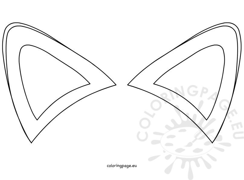Template coloring page . Fox ears clipart