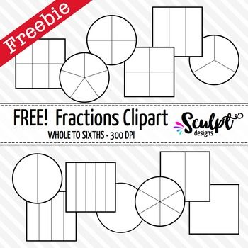Fraction clipart free clip black and white library Fractions Clip Art ~ FREE! Black & White Outlines | Math Tools, Etc ... clip black and white library
