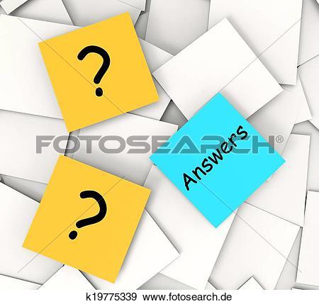Fragen und antworten clipart graphic black and white library Stock Fotograf - fragen, antworten, posten-es, notizen ... graphic black and white library