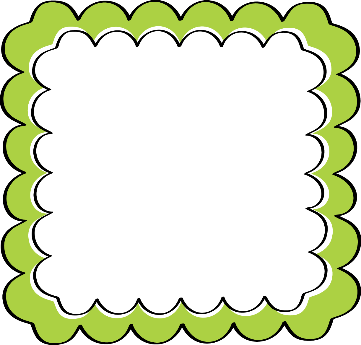 Frame borders clipart. School theme border green