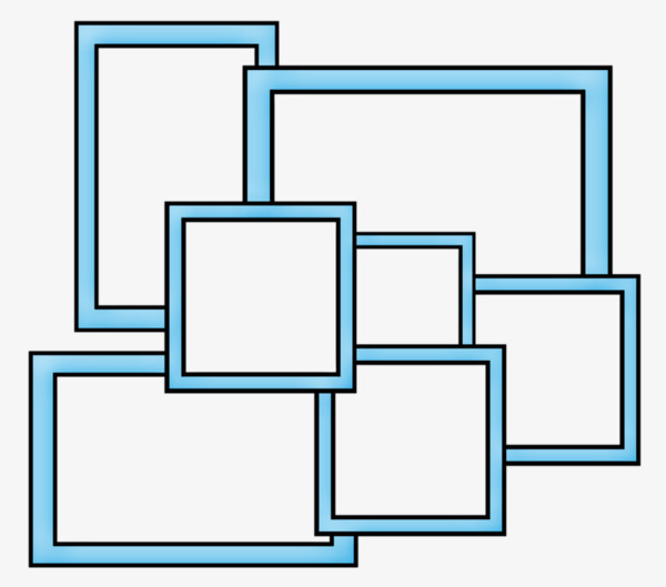 Frame collage clipart. Blue border simple png