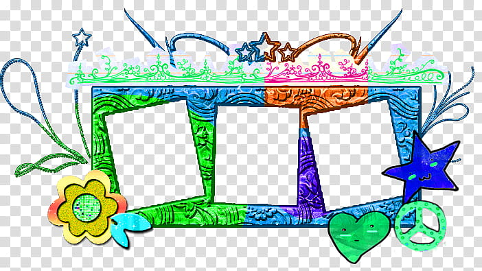 Frame collage clipart. Multicolored illustration transparent background