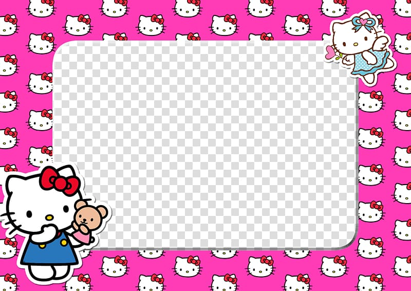 Pink and white frames. Frame hello kitty clipart