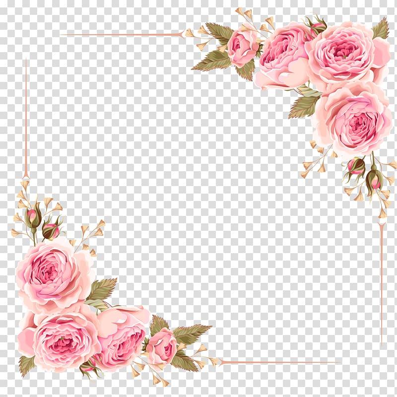 Wedding invitation flower pink. Frame rose clipart