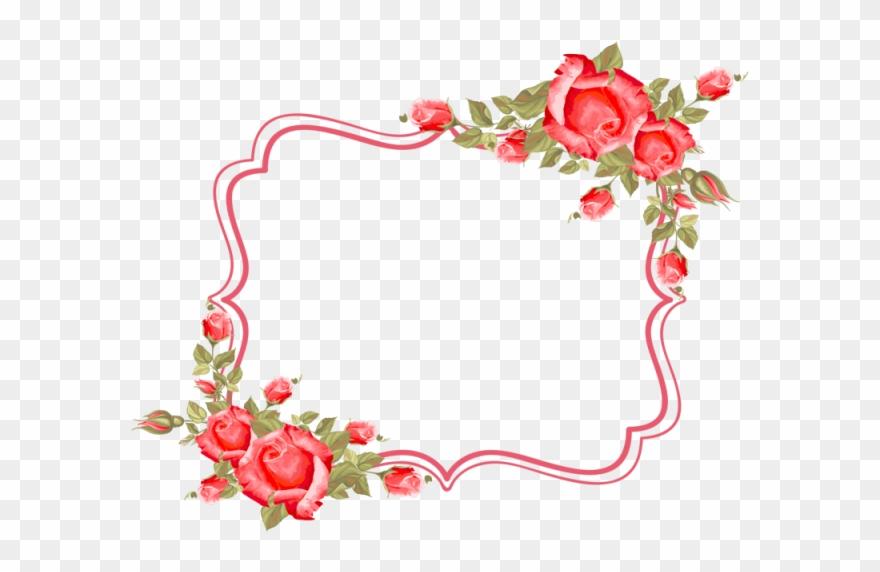 Flower roses border wedding. Frame rose clipart