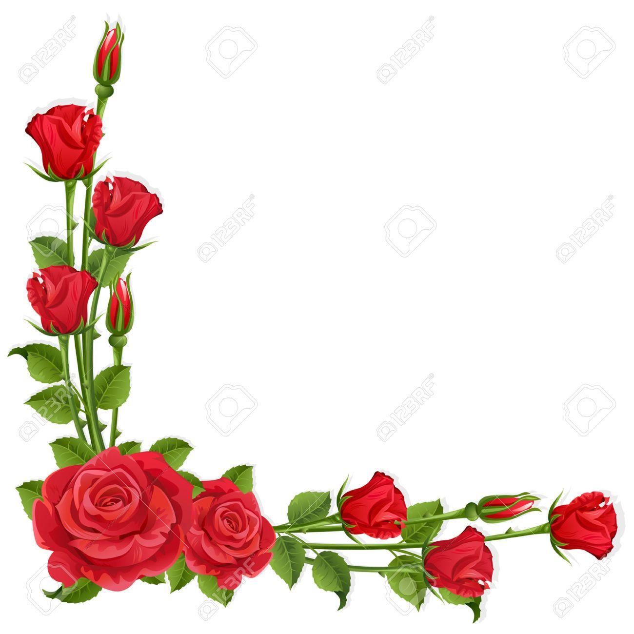 Rose flower border clipart clipart royalty free stock Stock Vector | Oklevél | Red roses, Rose flower wallpaper, Flower ... clipart royalty free stock