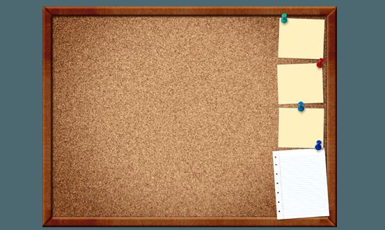 Bulletin display brown rectangle. Framed cork board free public domain clipart