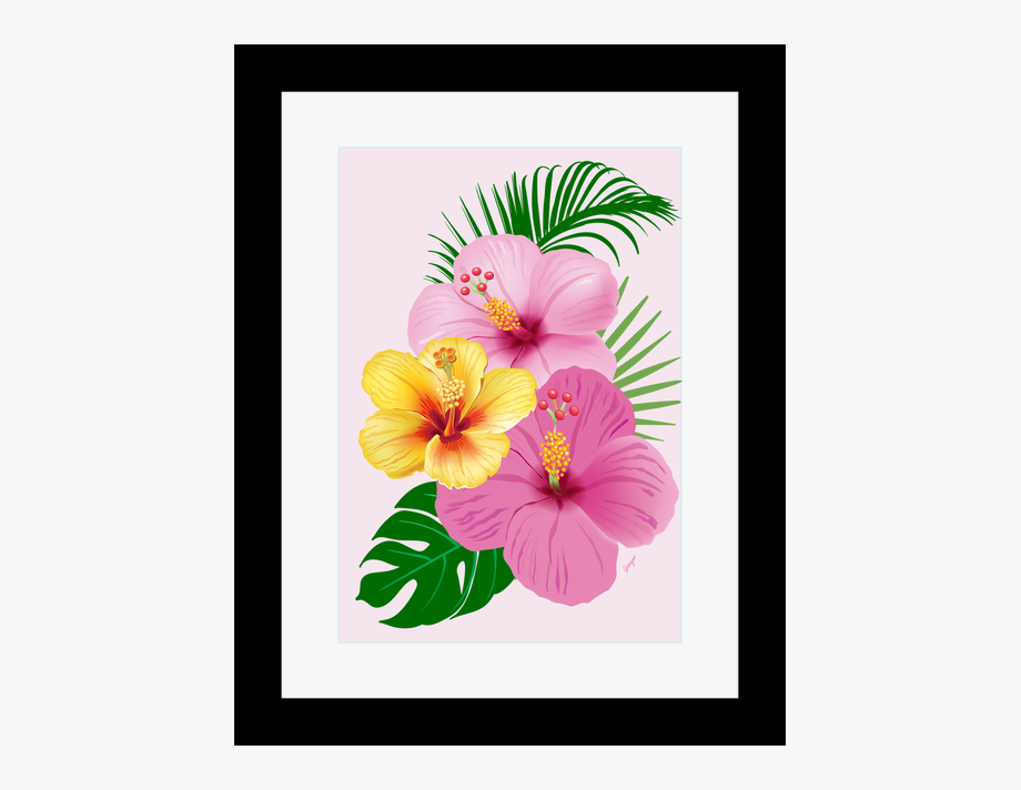 Framed picture clipart picture free library Beach Wall Art Framed Pink And Yellow Tropical Flowers, - Hawaiian ... picture free library