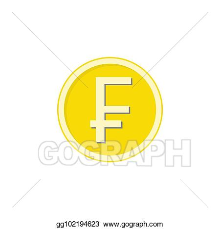 Franc clipart graphic black and white EPS Vector - Gold swiss franc coin flat icon, finance business ... graphic black and white