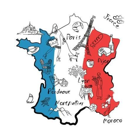 France geography blue clipart royalty free Stylized Map of France. Things that Different Regions in France are ... royalty free
