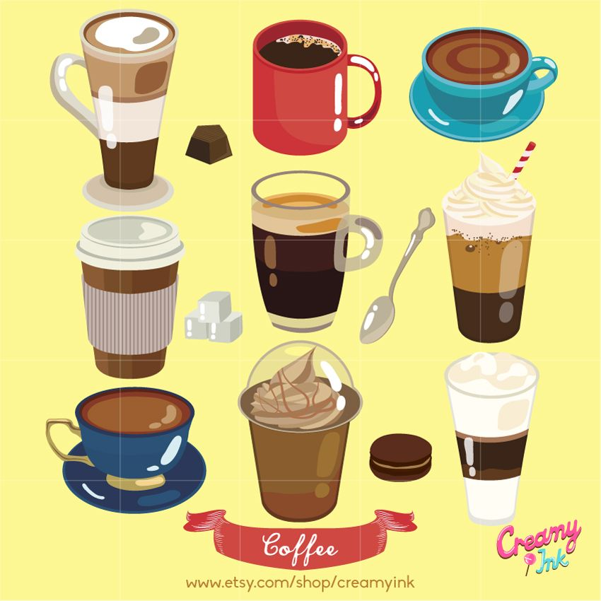 Frappe coffee clipart png free stock Coffee digital clip art featuring different types of coffee such as ... png free stock