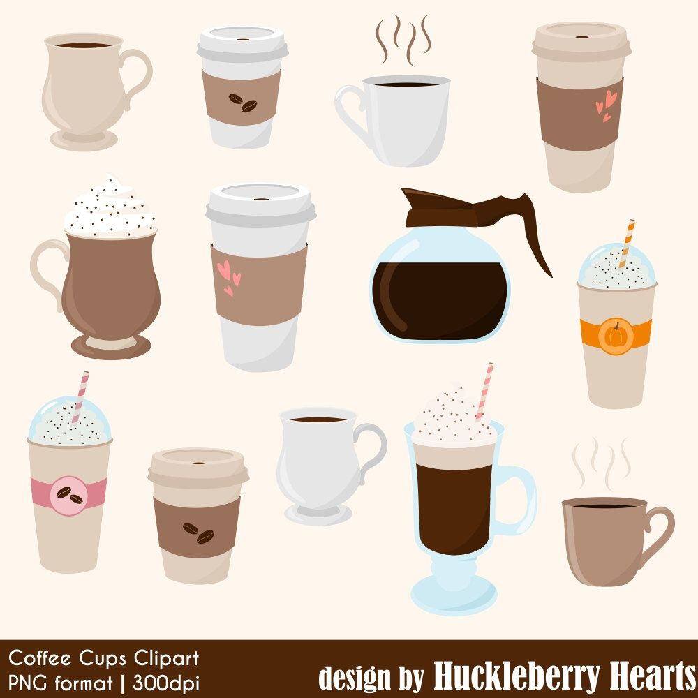 Frappe coffee clipart. Digital cups mugs latte