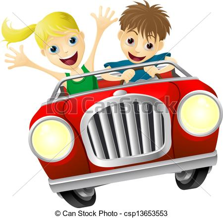 Frau auto clipart clip freeuse stock Clipart Vector of Cartoon man and woman in car - Cartoon young man ... clip freeuse stock