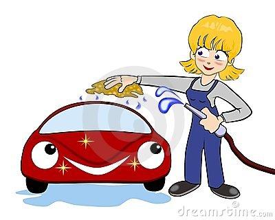 Frau auto clipart svg Nette Frau Wäscht Auto Stockfotos - Bild: 19498333 svg