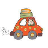 Frau auto clipart png royalty free Clip Art of going on holiday (road trip) k2520128 - Search Clipart ... png royalty free