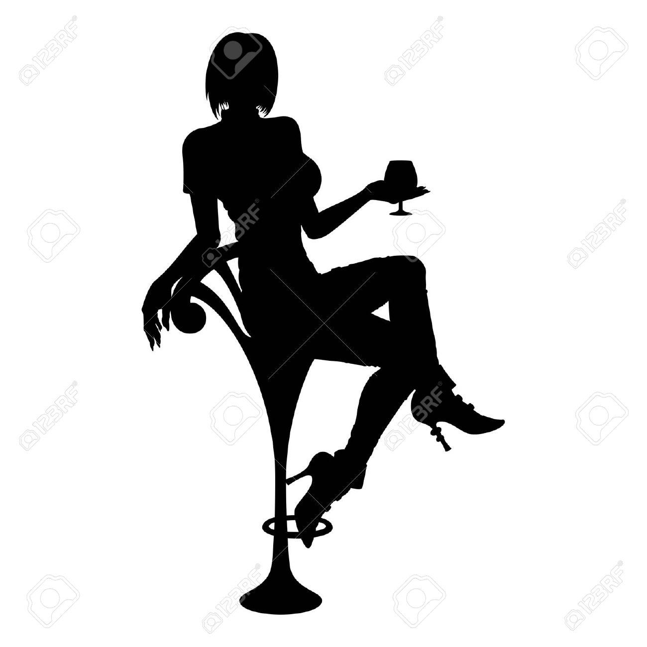 Frau im cocktailglas clipart clip library stock Silhouette Frau Mit Cocktail-Glas Ist Sie Auf Einem Barhocker ... clip library stock