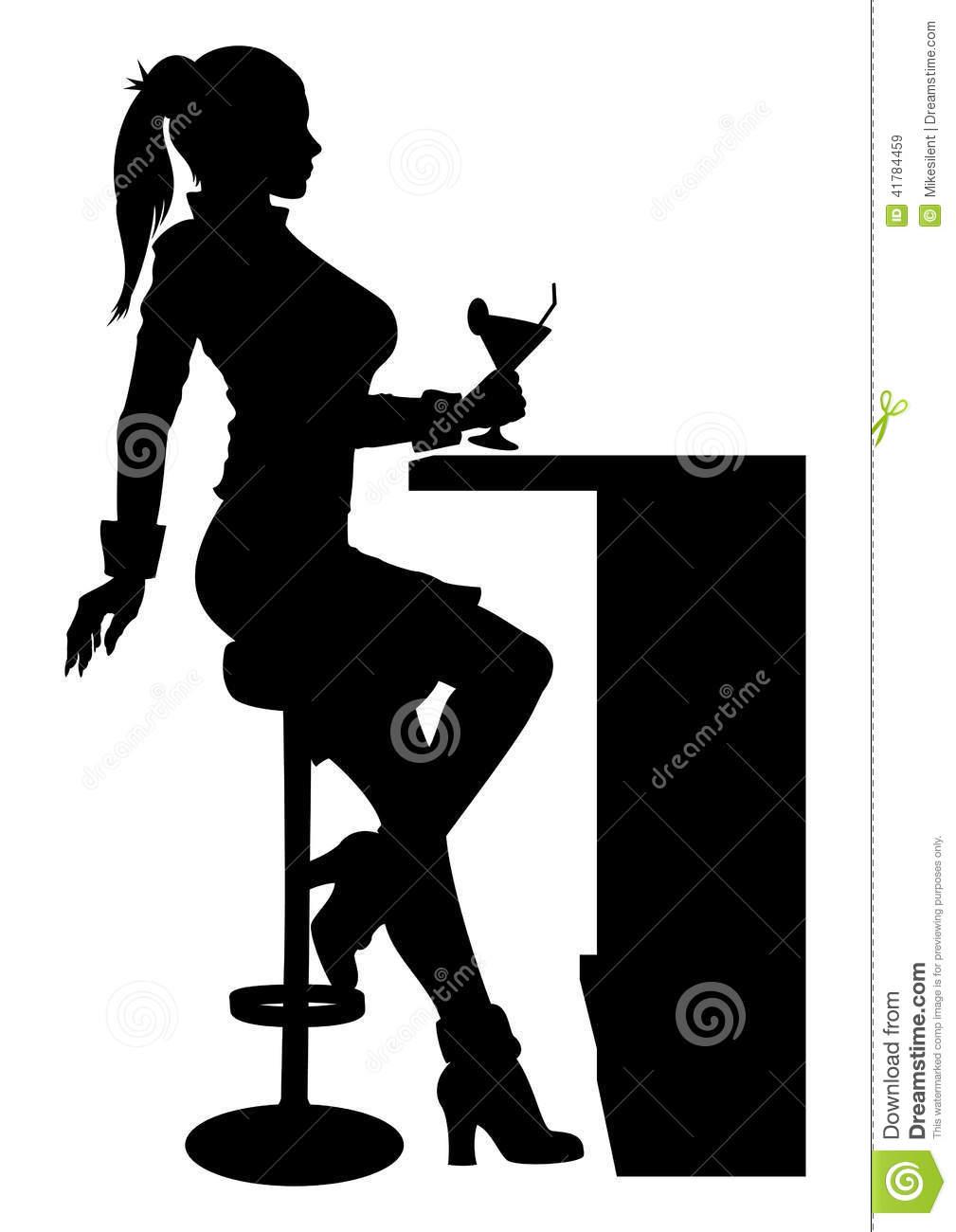 Frau im cocktailglas clipart image Silhouettieren Sie Die Frau, Die An Der Bar Mit Cocktail Sitzt ... image