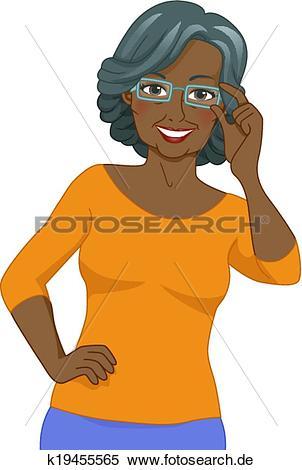 Frau mit brille clipart jpg free download Clipart - schwarz, ältere frau, brille k19455565 - Suche Clip Art ... jpg free download