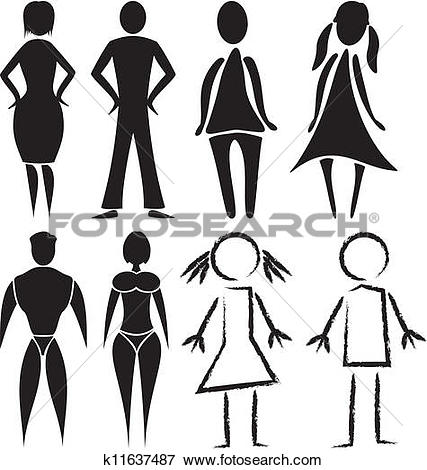 Frau und mann clipart svg stock Clip Art of toilet - man and woman signs k11637487 - Search ... svg stock
