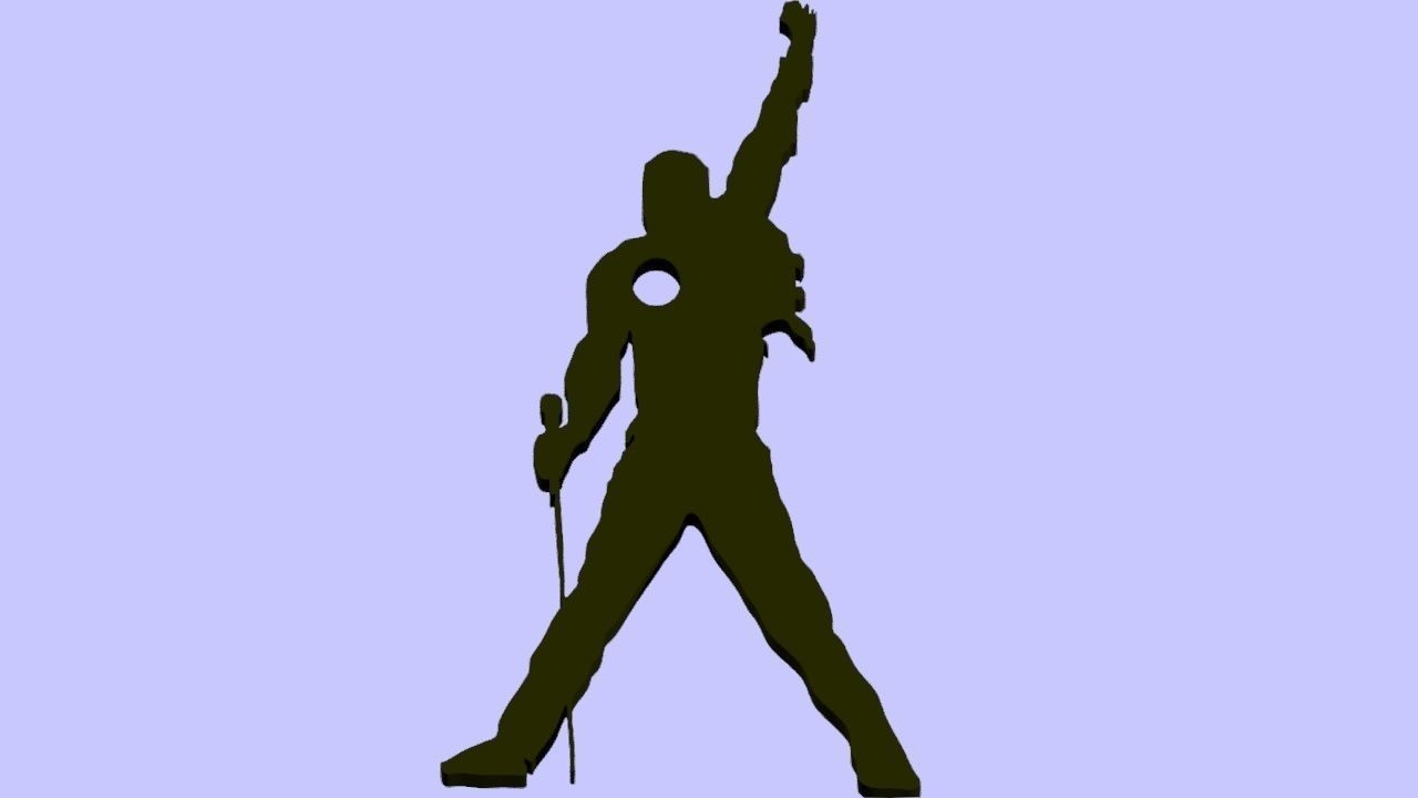 Freddie mercury silhouette clipart. Keychain d print model