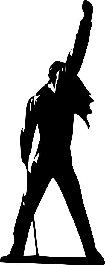 Broomsticker queen large wall. Freddie mercury silhouette clipart