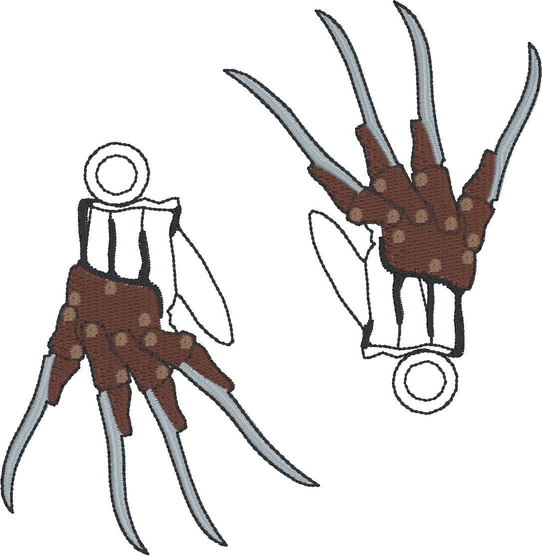 Freddy krueger glove clipart png freeuse library Freddy Krueger glove dangle 2ITH 4x4 machine embroidery design png freeuse library