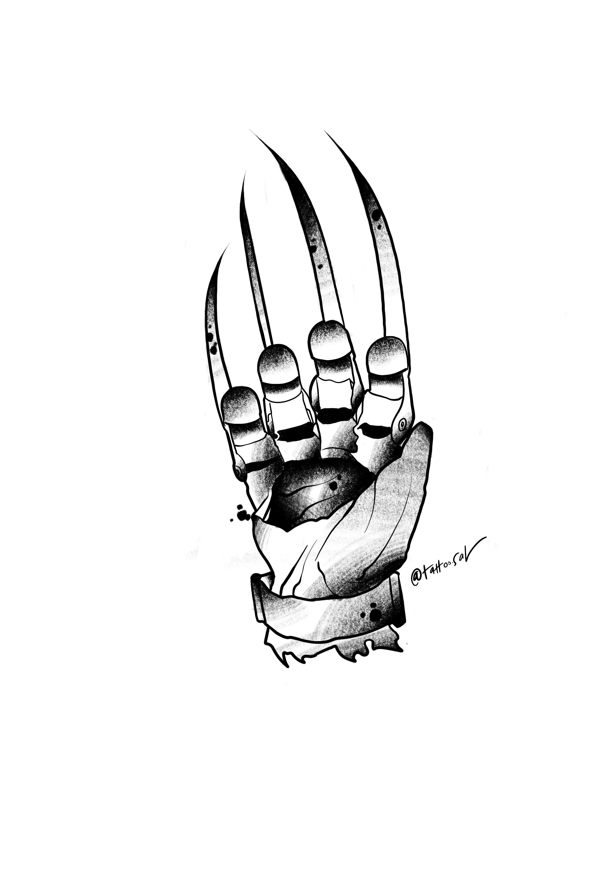 S art tattoo flash. Freddy krueger glove clipart
