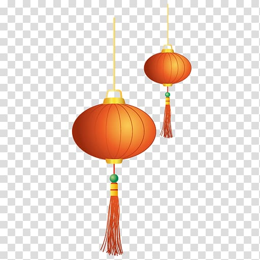 Free 2018 chinese new year latern clipart png free stock Two orange Chinese lanterns , Chinese New Year Lantern Icon, lantern ... png free stock