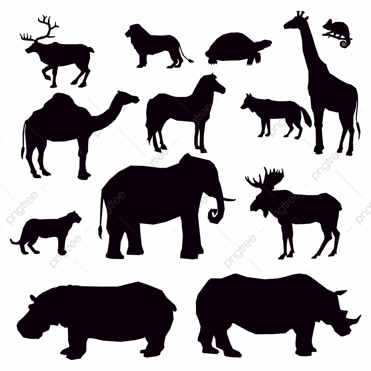 Free african animal clipart. Black silhouettes of animals
