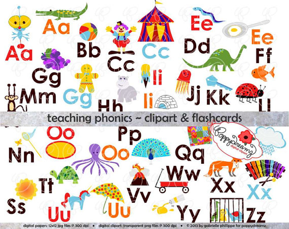 Free alphabet clipart for teachers picture freeuse stock Teaching Phonics Clipart & Digital Flashcards: Digital Image Set ... picture freeuse stock