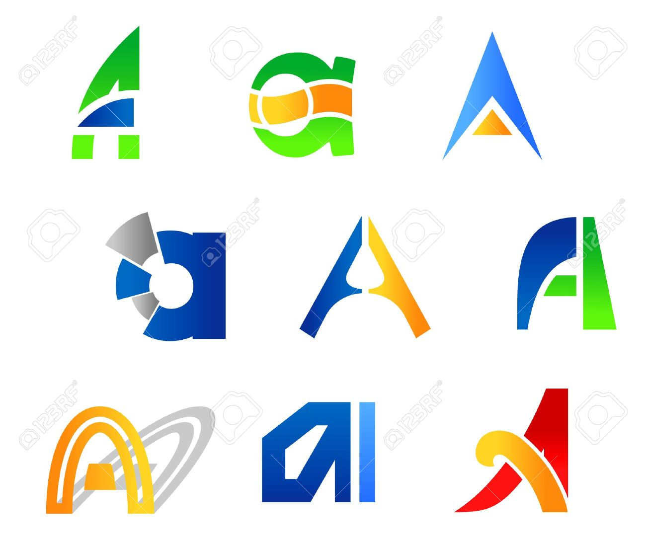 Free alphabet logo clipart vector freeuse Set Of Alphabet Symbols And Icons Of Letter A Royalty Free ... vector freeuse