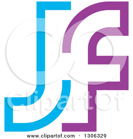 Free alphabet logo clipart royalty free download Clipart of a Blue and Purple Abstract Alphabet Letter JF Logo ... royalty free download