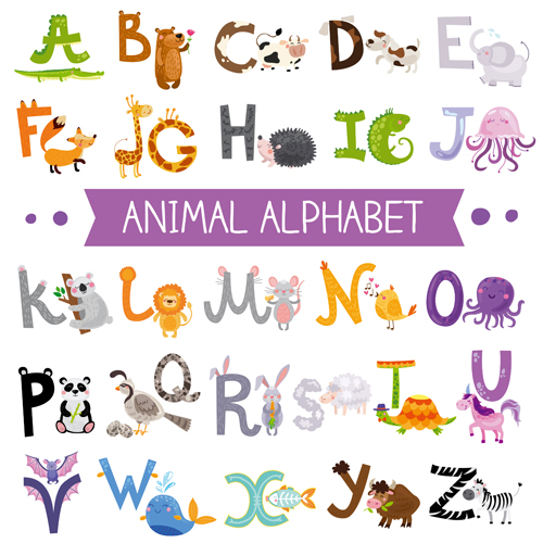 Free animal alphabet clipart graphic free Cartoon animal alphabets deisng vector set 06 - Vector Animal ... graphic free