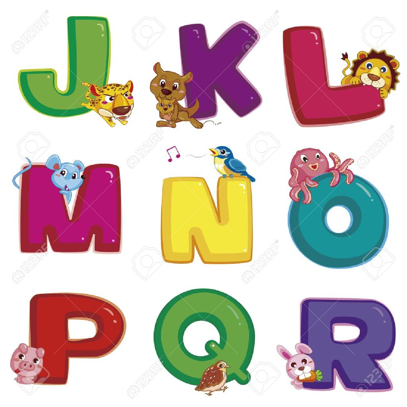 Free animal alphabet clipart picture library download Illustration Of Isolated Animal Alphabet J To R On White Royalty ... picture library download