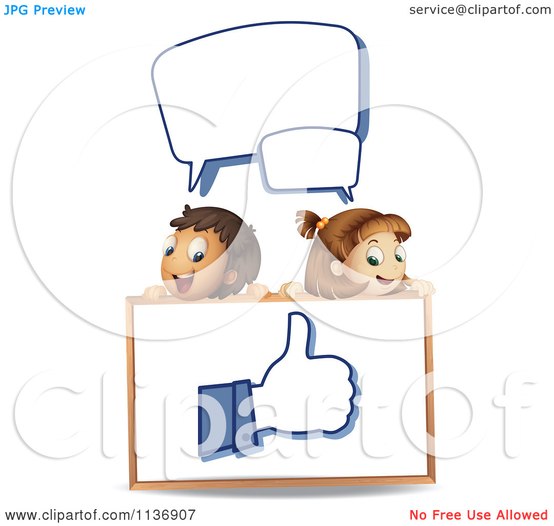 Free animal clipart thumbs up and down svg library Cartoon Of Children With Word Balloons Looking Down At A Thumb Up ... svg library