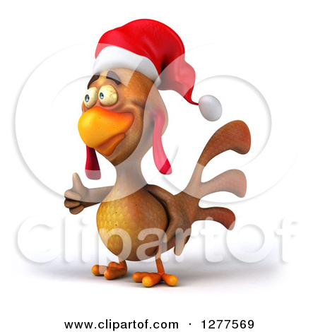 Free animal clipart thumbs up and down banner transparent download Clipart of a 3d Brown Christmas Chicken Looking up and Giving a ... banner transparent download