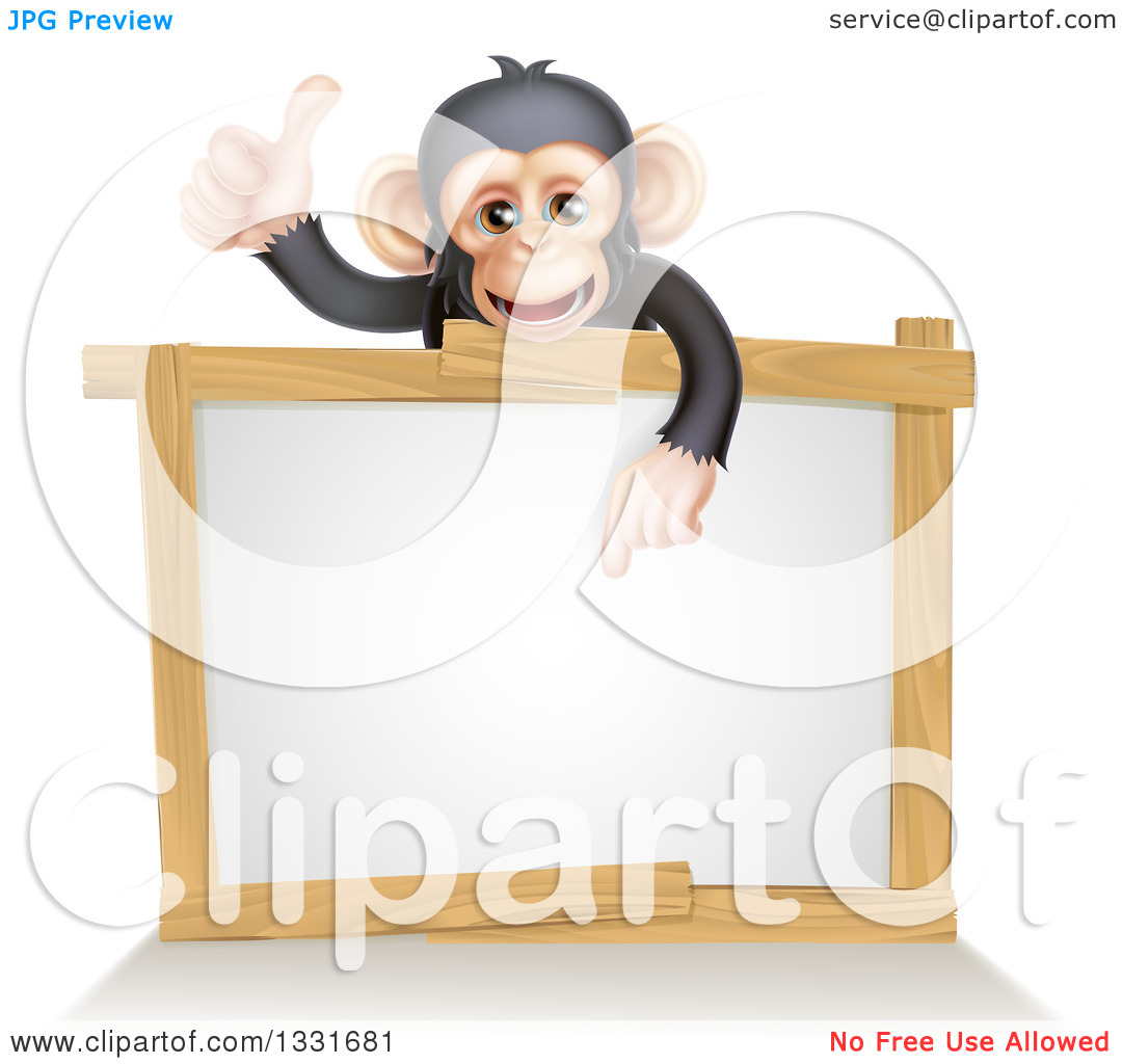 Free animal clipart thumbs up and down svg royalty free Clipart of a Cartoon Black and Tan Happy Baby Chimpanzee Monkey ... svg royalty free