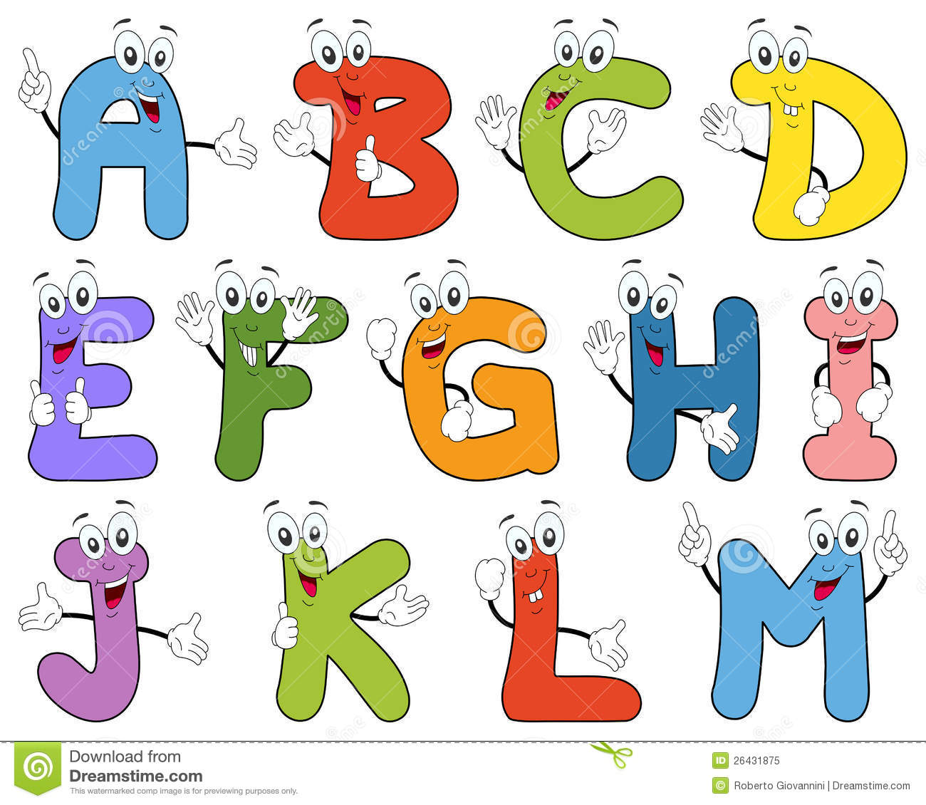 Free animated alphabet clipart png Cartoon Alphabet Characters A-M Royalty Free Stock Photo - Image ... png