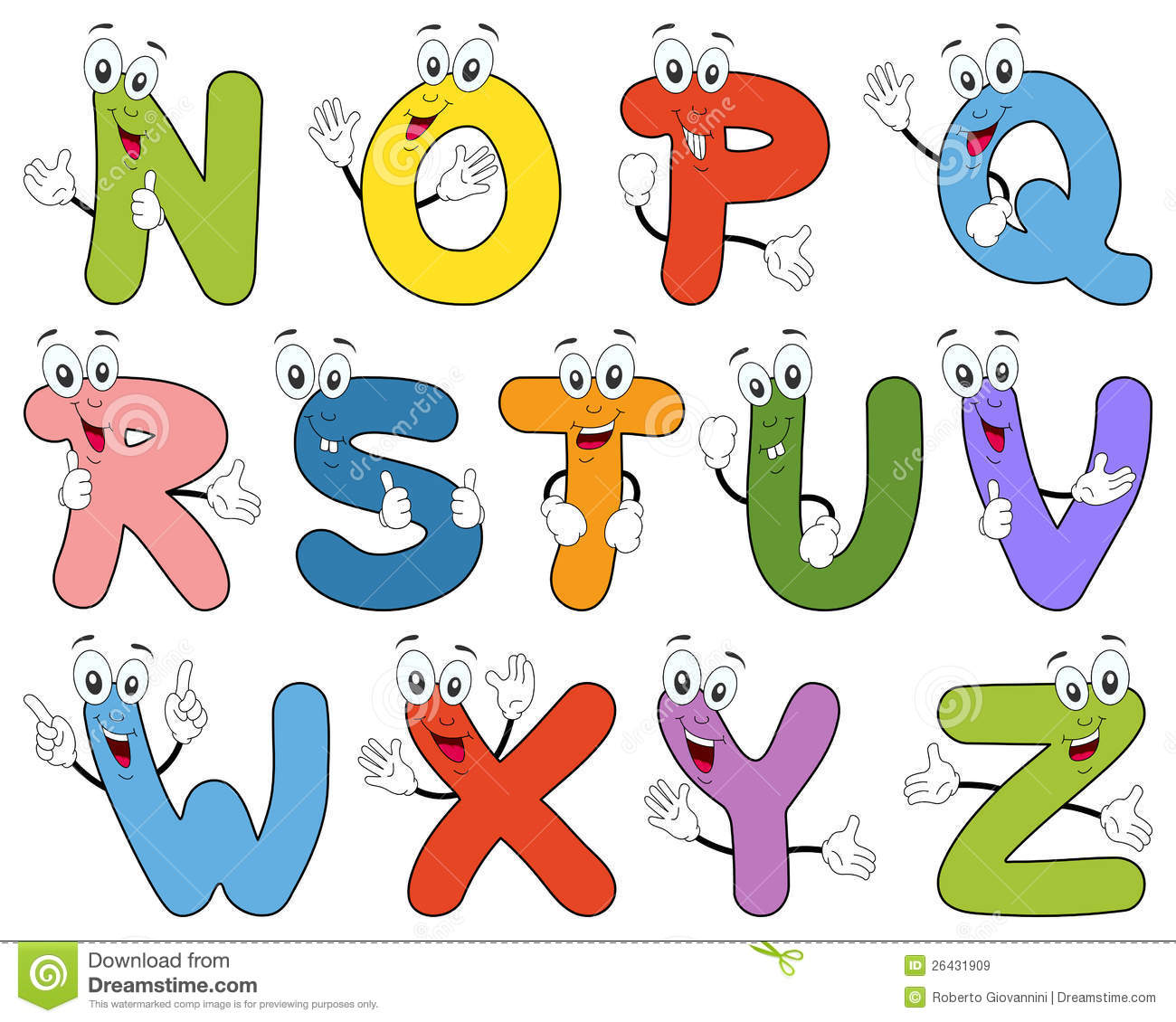 Free animated alphabet clipart graphic transparent library Cartoon Alphabet Characters N-Z Royalty Free Stock Images - Image ... graphic transparent library
