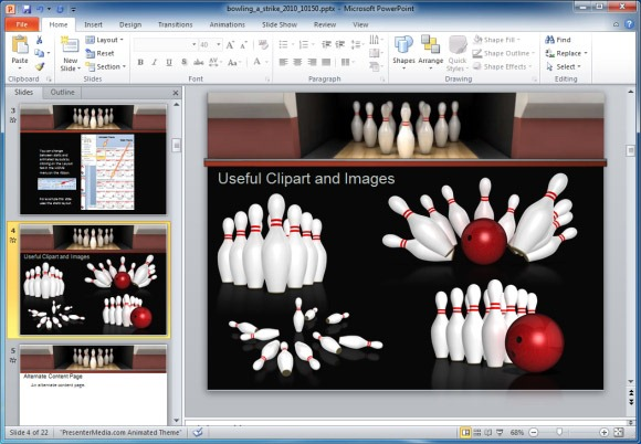 Free animated bowling clipart. Template for powerpoint presentations