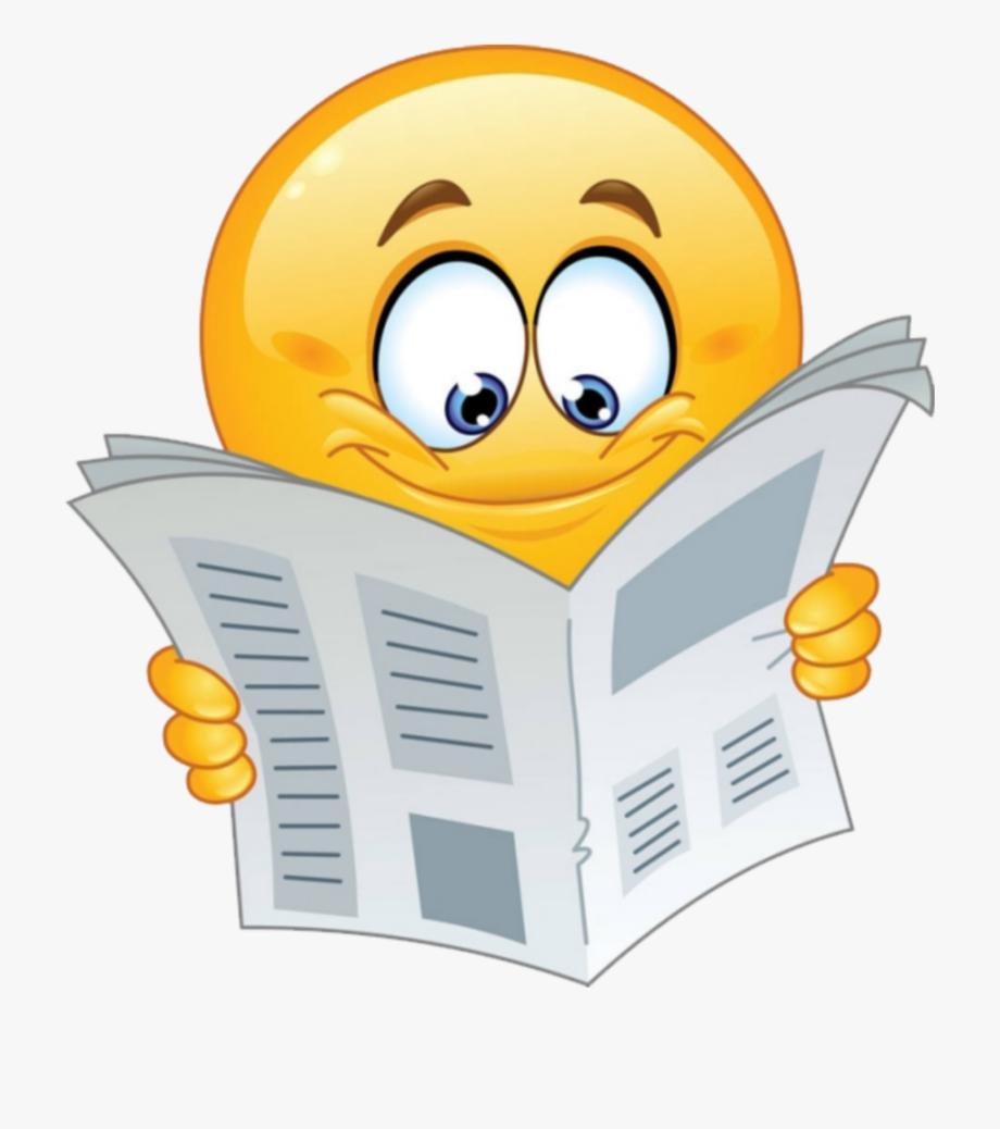 Emoji newspaper transparent . Free animated reading clipart