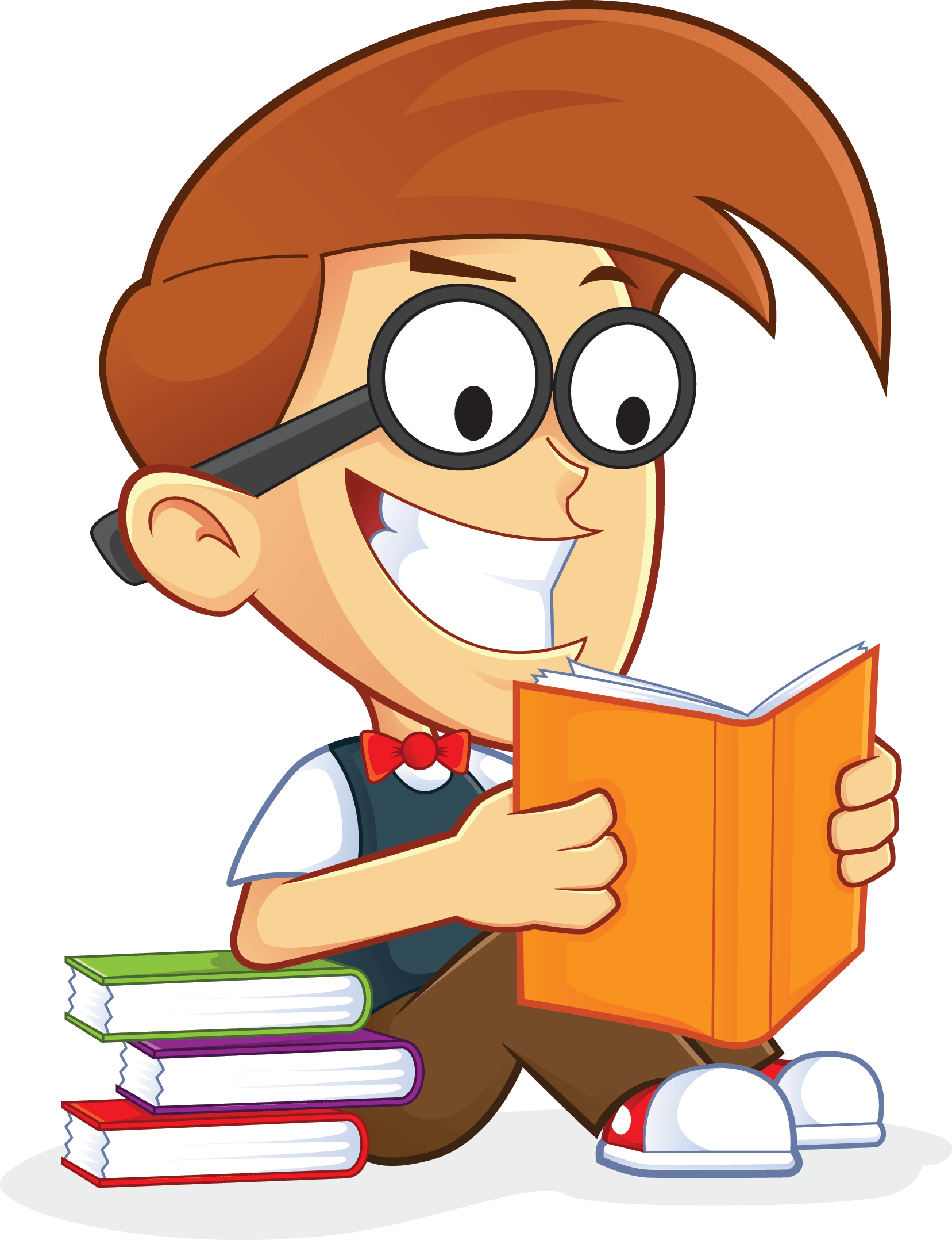 Free animated reading clipart. Nerd geek book people