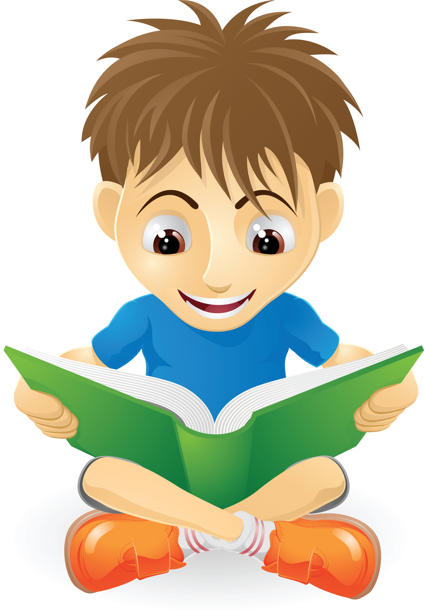 Free animated reading clipart. Boy and girl download