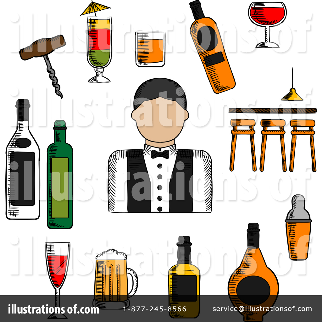 Free bartender clipart banner royalty free library Bartender Clipart #1380831 - Illustration by Vector Tradition SM banner royalty free library