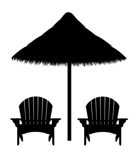 Free beach umbrella black and white clipart jpg clip art stock beach armchair and umbrella black contour silhouette vector ... clip art stock